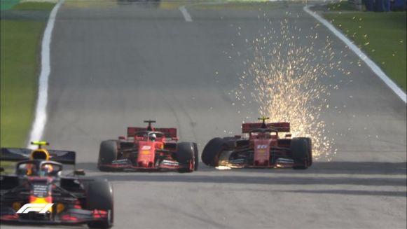 Vettel en Leclerc reden elkaar uit de race.