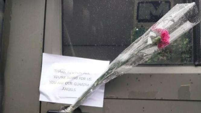 Belgische militairen vinden na patrouille hartverwarmende boodschap op hun wagen
