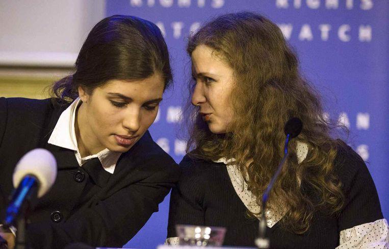 Nadezhda Tolokonnikova (L) en Maria Alyokhina van Pussy Riot. Beeld Reuters
