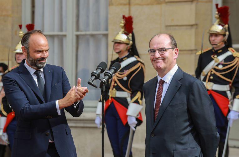 Philippe (L) met de nieuwe premier Jean Castex (R).