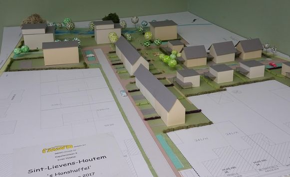 Een eerste maquette van de woningen, zoals nv Immo Invest ze in gedachten heeft.