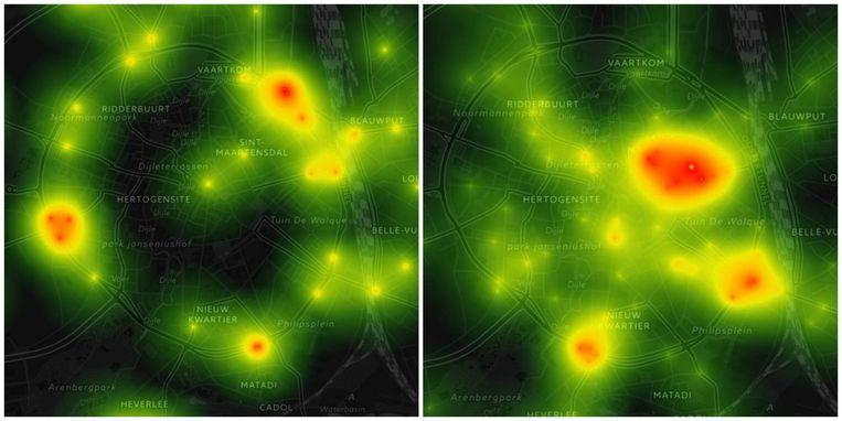 Leuven op zondag (links) en op maandag (rechts).