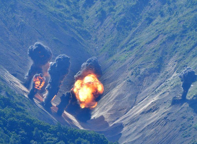 Een bombardement uitgevoerd door B-1's en F-35's, de Joint Strike Fighter, eind augustus tijdens een oefening in Zuid-Korea. De oefening vond plaats na de lancering door Noord-Korea van een middellange afstandsraket. Beeld Republic of Korea Air Forc