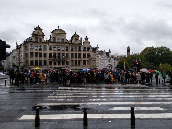 De betogers verzamelden op het Albertinaplein.