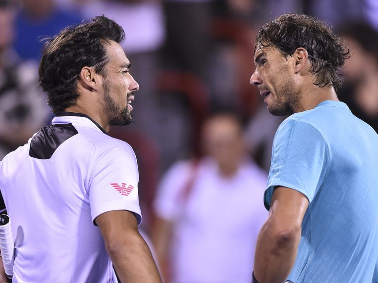 MONTREAL, QC - AUGUST 09: Fabio Fognini of Italy and Rafael Nadal of Spain chat during day 8 of the Rogers Cup at IGA Stadium on August 9, 2019 in Montreal, Quebec, Canada. Rafael Nadal of Spain defeated Fabio Fognini of Italy 2-6, 6-1, 6-2.   Minas Panagiotakis/Getty Images/AFP == FOR NEWSPAPERS, INTERNET, TELCOS & TELEVISION USE ONLY ==