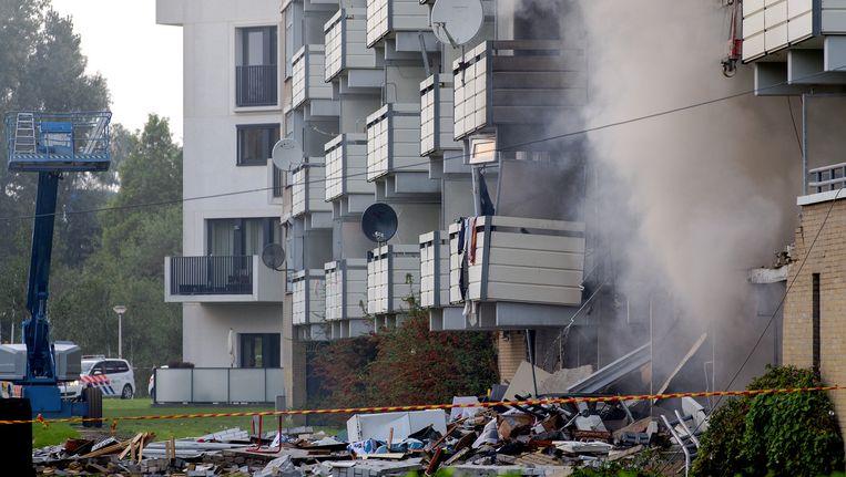 De voorgevel van flatgebouw de Beukenhorst in Diemen na de explosie. Beeld anp