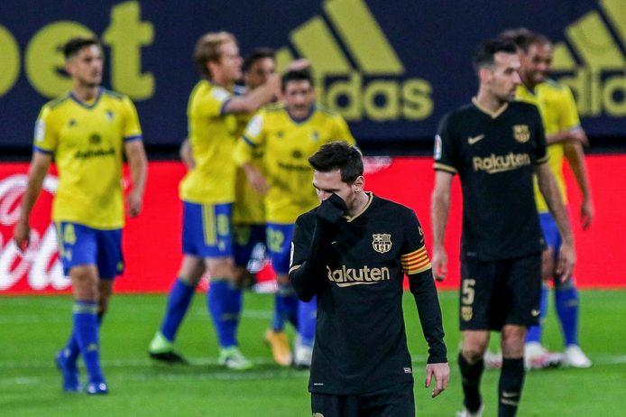 Lionel Messi baalt stevig na de tegengoal.