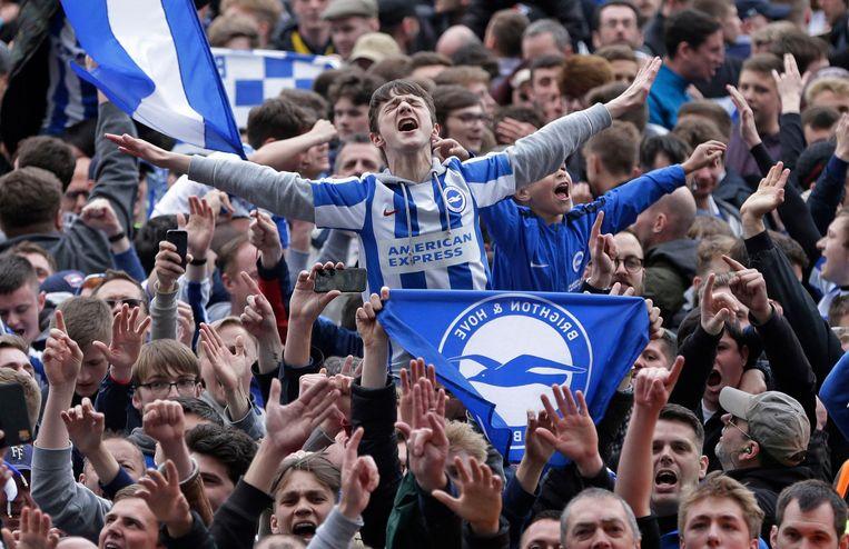 Een jonge fan is uitzinnig van vreugde wegens het bereiken van de Premier League.  Beeld Photo News