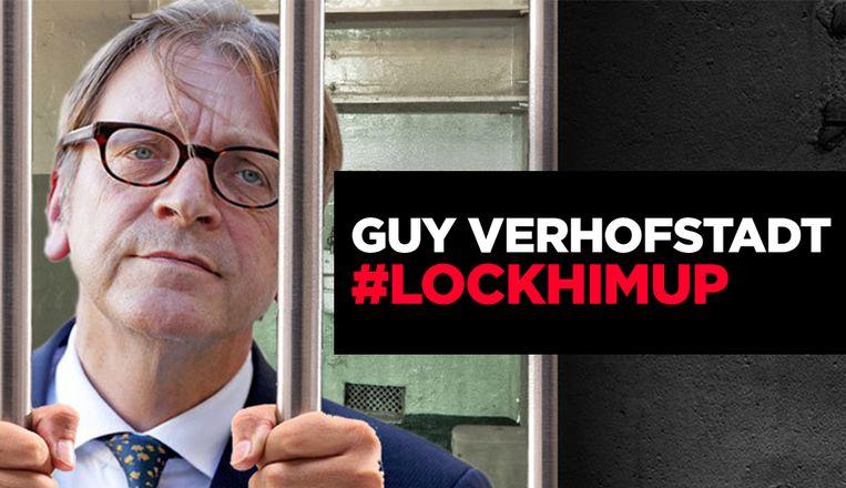 """De brexit-voorstanders van Leave.EU willen de """"fanatieke Eurofiel"""" Guy Verhofstadt achter tralies."""