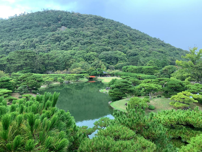 DeRitsurin-tuin, een van de belangrijkste historische parken van Japan. Beeld null