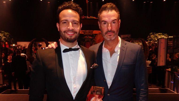 Horecatycoon Liran Wizman, winnaar Hospitality & Style Award, en zijn compagnon Yossi Eliyahoo, ook nog winnaars van Best Club Venue met Mad Fox in Hotel W Beeld Schuim