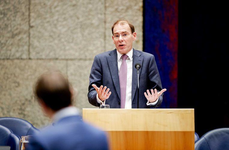 Staatssecretaris Menno Snel van Financiën tijdens het debat in de Tweede Kamer over het optreden van de Belastingdienst in de affaire rond kinderopvangtoeslagen. Beeld ANP