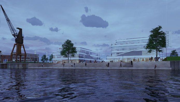 Artist impression van het toekomstige Waterbusplein in Hendrik-Ido-Ambacht.