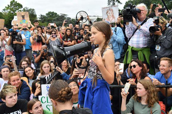 Greta Thunberg bij een klimaatprotest aan het Witte Huis vorige maand.