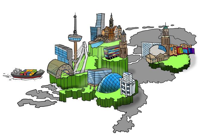 Regio Zwolle wil de vierde economische topregio van Nederland worden. Amsterdam, Utrecht, Rotterdam en Eindhoven torenen boven Regio Zwolle uit.