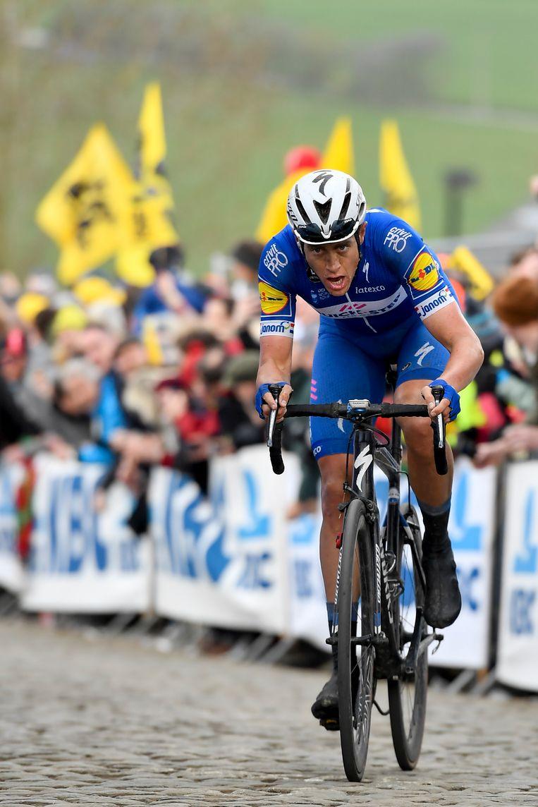 Nikki Terpstra tijdens de Ronde van Vlaanderen. Beeld BELGA