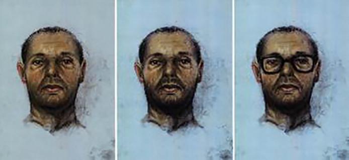 De verouderingsschets van Ridouan Taghi, zoals hij er uit kan zien zonder baard, met baard of met bril.