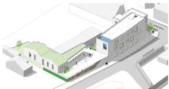 De nieuwe school krijgt twee aparte speelplaatsen voor kleuters en lagere scholieren.