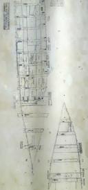 Tekening die straks helpt om het schip te reconstrueren.