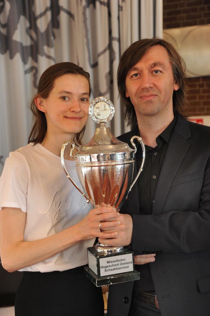 Gata Kamsky en zijn vrouw Vera Nebolsina.