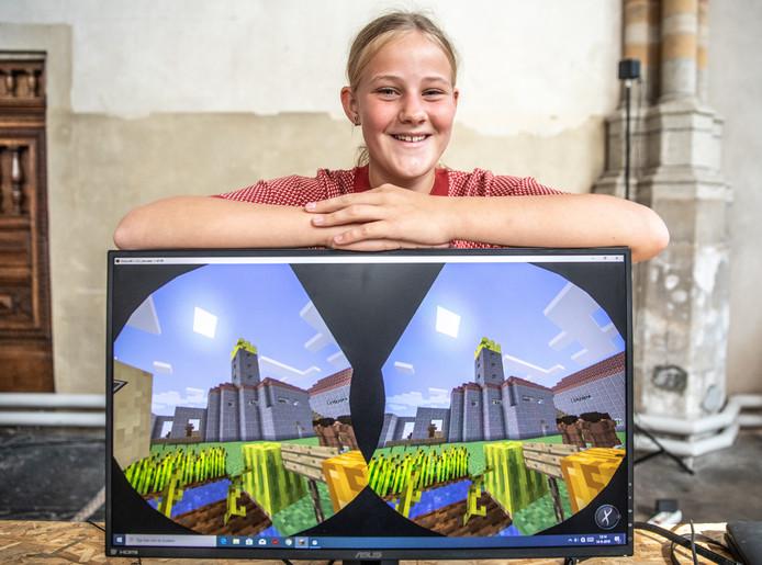 Hanne Bergwerff won de originaliteitsprijs met de Havezathe Werkeren. Haar minecraftcreatie was te zien tijdens de Open Monumentendagen in Zwolle dit weekeinde.