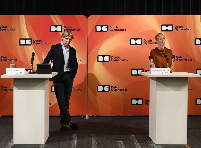 Marieke van der Plas, directeur KNGU en Mark Meijer, technisch directeur KNGU tijdens een persbijeenkomst van de KNGU.  Beeld ANP