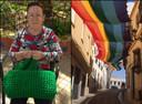 Ángeles Rubio (links) is een van de vrouwen die de LGBTI-vlag heeft ontworpen. Het resultaat (rechts) is een reusachtige vlag die in een straat hangt in de Spaanse stad Aguilar de la Frontera.