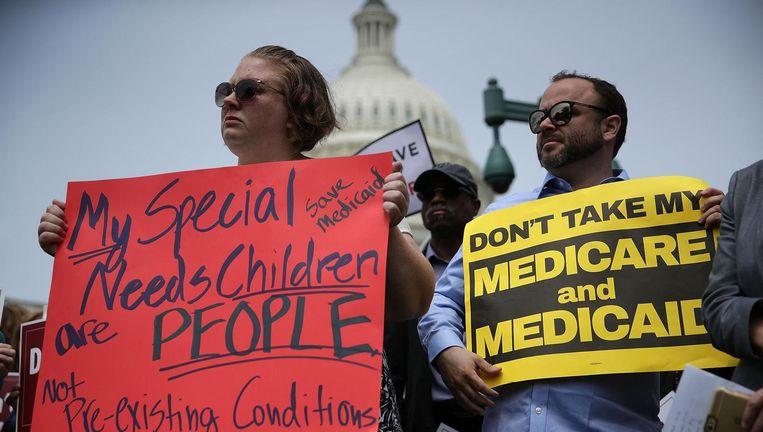 Demonstratie tegen de Republikeinse plannen om ObamaCare af te schaffen. Beeld afp