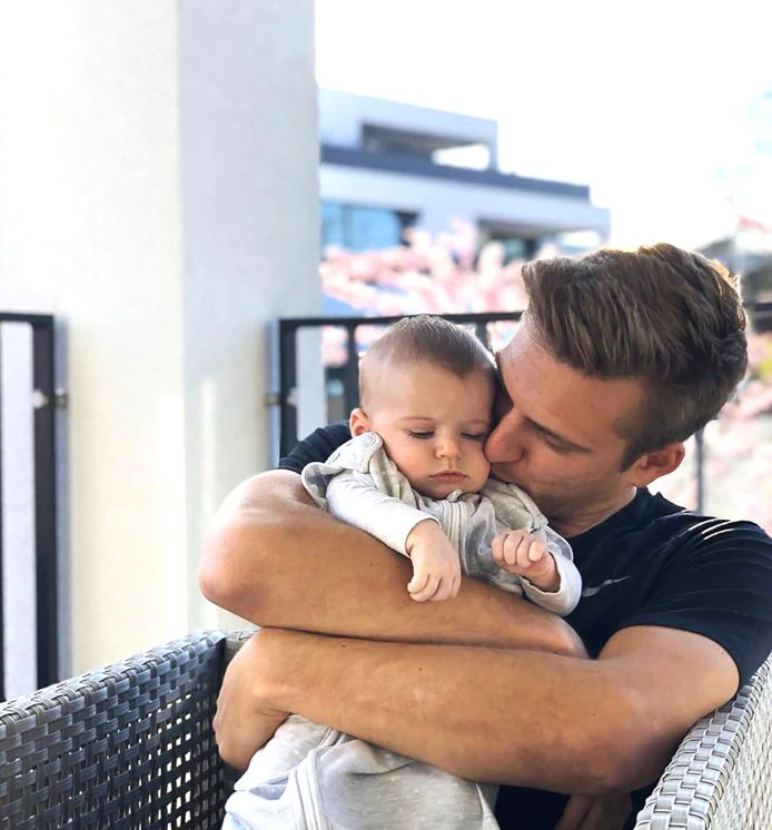 Marcel Kittel met zijn zoontje.