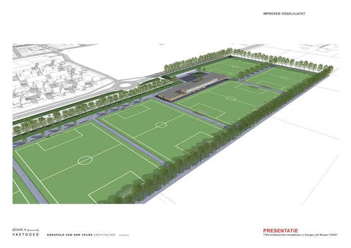 Een artist impression uit het plan van Paridome waarbij het nieuwe sportpark langs de Beljaartlaan is aangelegd.