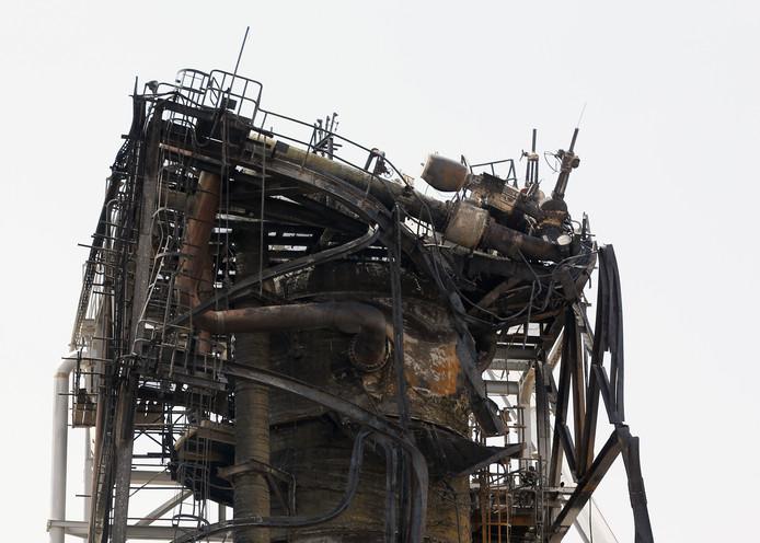 De getroffen olie-installatie op het Aramco's Khurais complex in Saoedi-Arabië.