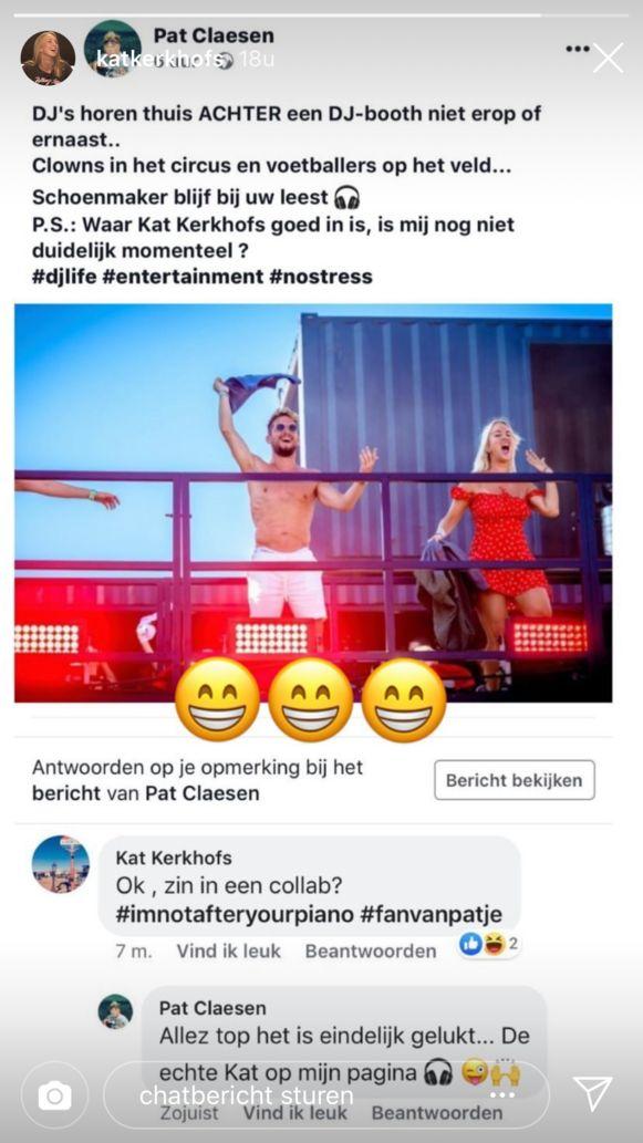 Kat Kerkhofs reageert ludiek op de sneer van Pat Krimson