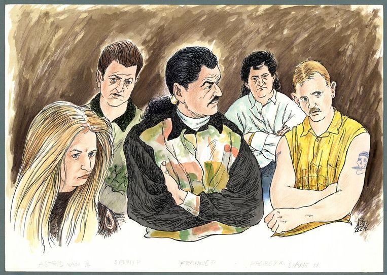 1995/ 1996. Rechtszaak tegen de Bende van Venlo, met in het midden Frenky P. Beeld Chris Roodbeen