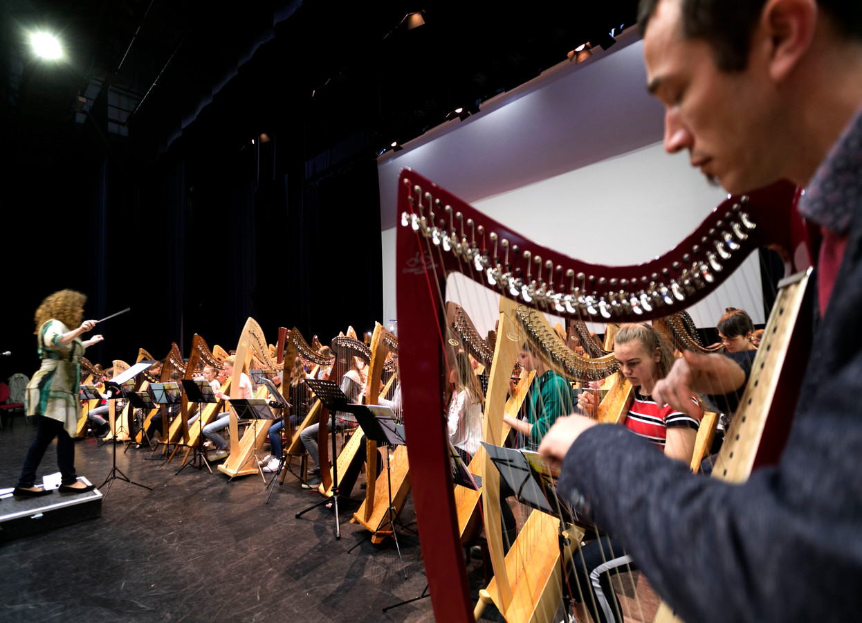 De repetitie van de harpisten in het Cultuurcentrum in Deurne.