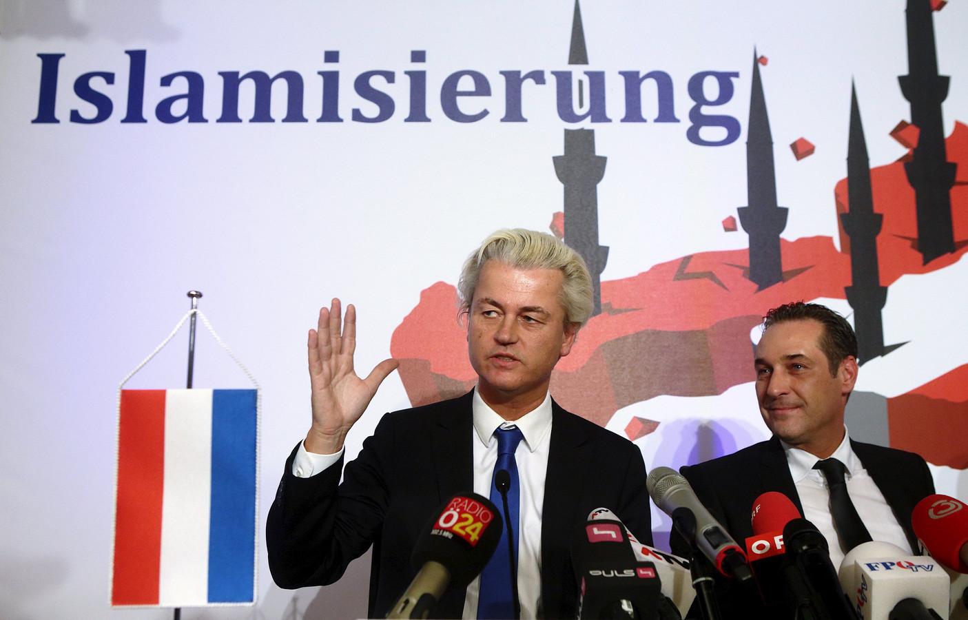 Geert Wilders tijdens zijn bezoek aan Wenen in 2015, op uitnodiging van de Oostenrijkse zusterpartij