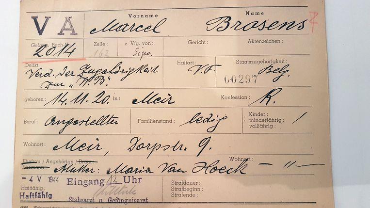 De fiche van Marcel Brosens.