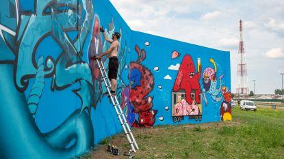 Dát is pas graffiti: tachtig kunstenaars nemen waterkeringsmuur in Antwerpse haven onder handen