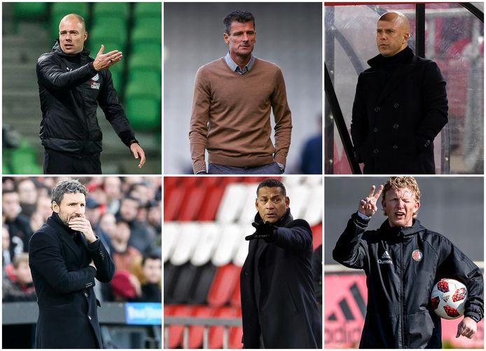 Boven: Danny Buijs, Wim Jonk, Arne Slot. Onder; Mark van Bommel, Henk Fraser en Dirk Kuyt (vlnr).