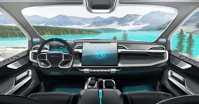 Een toekomstbeeld op het dashboard van de pick-up Badger die je vanaf 29 juni kan bestellen.