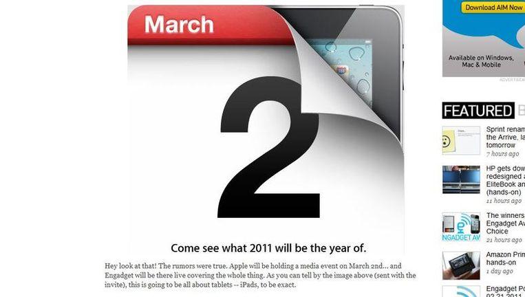 Screenshot van de website van Engadget, waar de uitnodiging van Apple voor het evenement van volgende week staat afgebeeld. Beeld