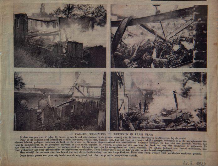 Artikel uit 1922 over brand 'Fabriek Beernaerts in laaie vlam.'