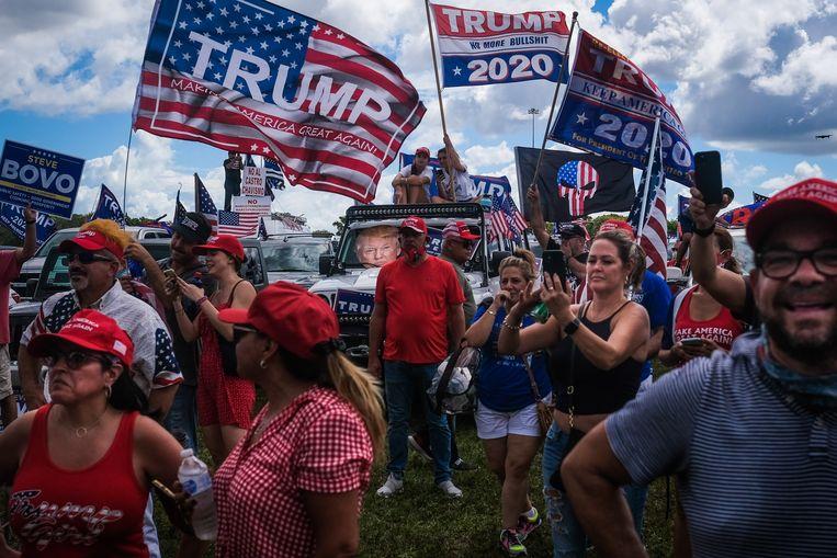 Trump-aanhanger afgelopen weekend in Miami. Beeld EPA