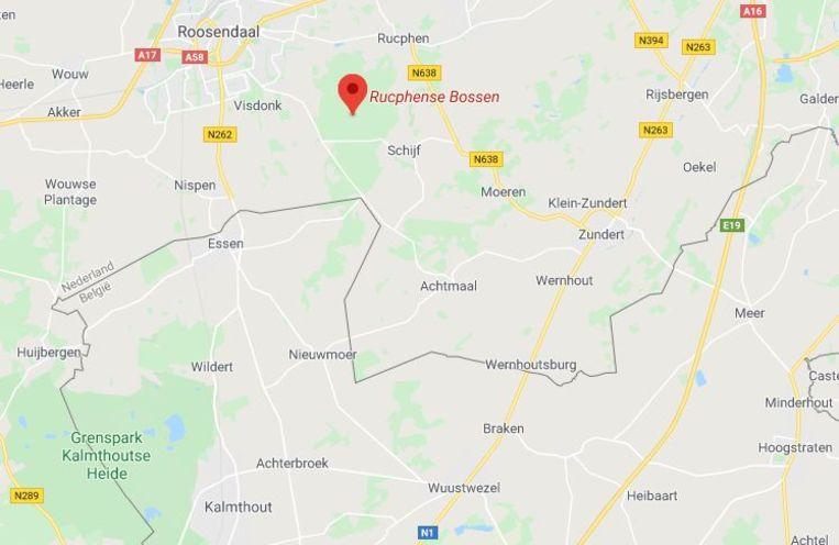 Politie zocht naar het lichaam van Leemans in de Rucphense Bossen, net over de grens bij Essen.