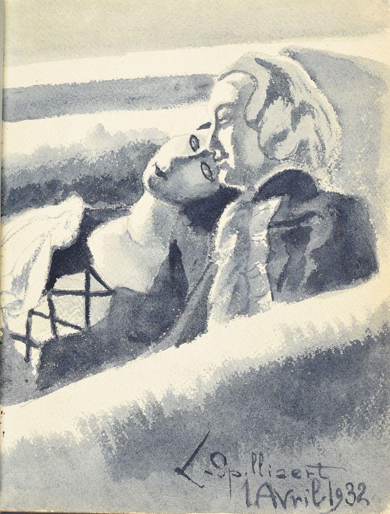 Een werk van Léon Spilliaert in het vriendenboekje.