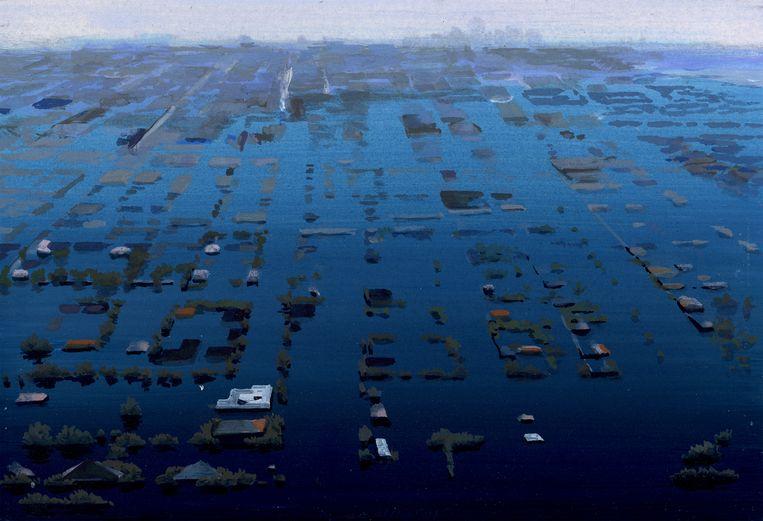Olphaert den Otter lucht - water 28/10/2011 (uit de serie World Stress Painting ), eitempera op papier, 18 x 26 cm Beeld Collectie M.E. Rijnveld, Rotterdam
