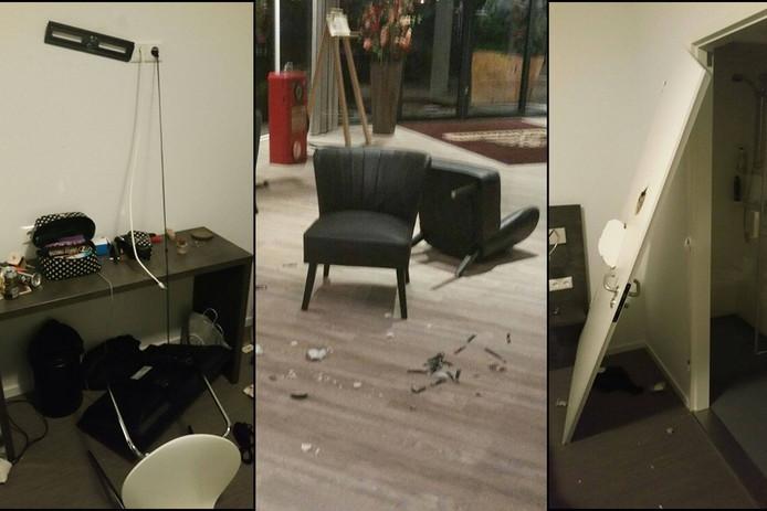 De vernielingen in hotel de Achterhoek in Laren.