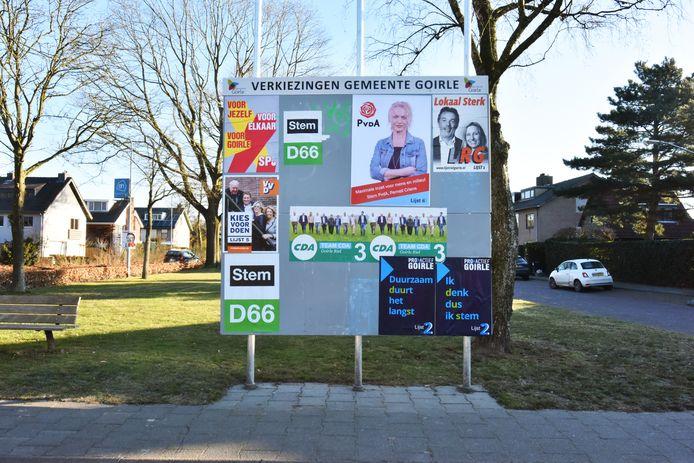 Een verkiezingsbord in Goirle.