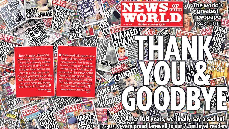 De voorpagina van News of the World op 9 juli 2011 Beeld REUTERS