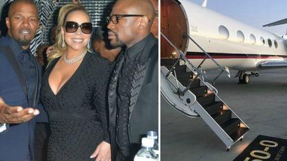 Een superfeest met Mariah Carey en Jamie Foxx, een nieuwe privéjet en een Rolls Royce: zo vierde 'Money' Mayweather zijn 41ste verjaardag