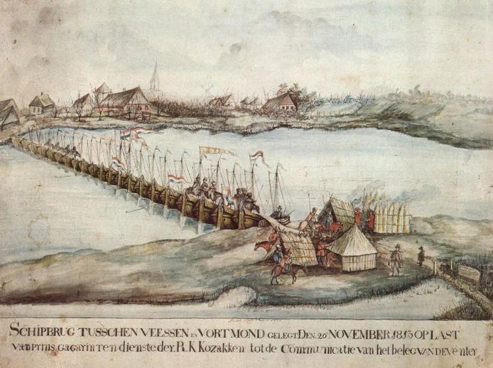 De door de Kozakken gecreëerde schipbrug over de IJssel bij Veessen.